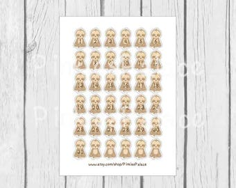 Calendar Stickers Sloth Planner Stickers Sloths Set of 36 Stickers PS430