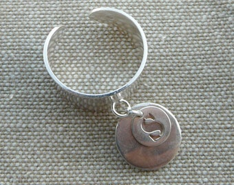 """Large silver pendant """"Medal"""" and """"Small initial"""" ring"""