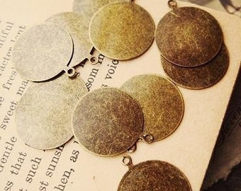 12 Disk Charm Settings Vintage Bronzed Brass Tag for 1.8cm cabochons Charm Finding   E-H05-2