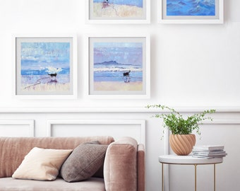 Four Border Collie Prints. Set of 4 Dogs on the Beach. Pet Lovers Art from the Seaside.