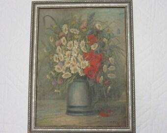 Antique daisy oil PAINTING floral flowers vintage hand painted original c1940  art home decor poppies
