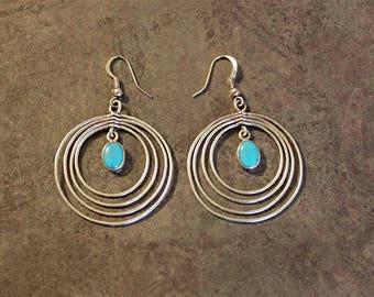 Vintage Sterling Silver Turquoise Ella Cowboy Multi Hoop Earrings