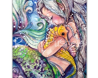 Print on Canvas Colorful , Mermaid and Seahorse