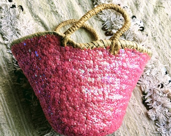 Moroccan basket - basket-glitter - beach bag - grocery bag Moroccan bag