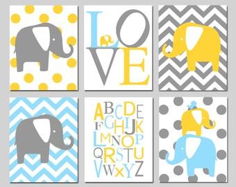 Elephant Nursery Art - Set Six 8x10 Prints - Polka Dot Elephant, Love, Chevron Elephant, Alphabet, Elephant Bird Stack - CHOOSE YOUR COLORS