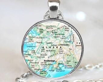 Alaska Map Pendant, Alaska Map Necklace, Alaska Map charm, Alaska Map Jewelry  (PD0614)