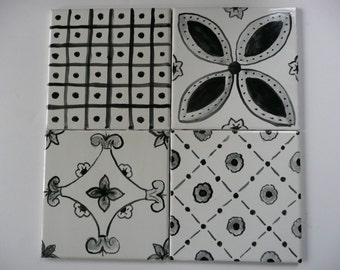 Black and White French Country majolica patchwork ceramic tiles 6 x 6