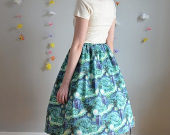 Blue & Green Police Box + Starry Night Print Tea Length Skirt / Stitch in Time Skirt