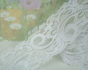 5yd White Elastic Stretch Lace Trim Ribbon 1 3/4  inch Wide Trim Bra making supplies Headband lingerie Elastic Lace by the yard