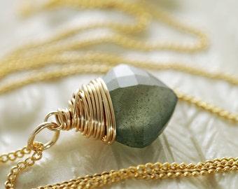 Moss Aquamarine Gold Necklace, Teal Green Gemstone Pendant, March Birthstone Jewelry