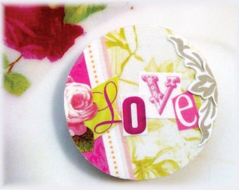 Magnet, Paper, Art, Flower, Floral, Rose, Pattern, Love, Letters, Word, Collage, Modern, Graphic, Illustration, Pink, Green, White, Gray