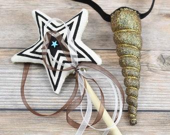 Gold Magic Wand and Unicorn Headband Gift Set