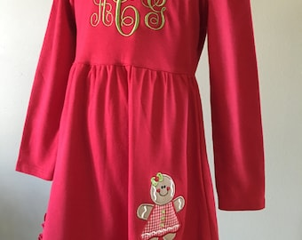 Girls & Baby Girl Christmas Gingerbread Appliqué Dress W/ Initials