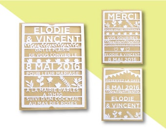 Paper cut wedding stationery - invitation - thank you - RSVP - invitation card - Save the date