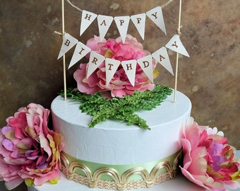 """Birthday cake topper banner ...Rustic look """"Happy Birthday"""" pennant banner for your next birthday celebration"""