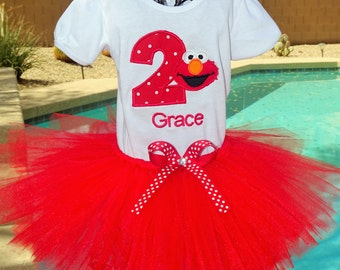 Personalized Elmo tutu outfit, Sesame Street tutu outfit, Halloween costume, birthday tutu,red elmo