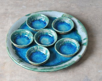 Passover Seder Plate, Passover Plate Pesach Plate Judaica Passover bowl Ceramic plate passover tray Serving tray passover gift turquoise