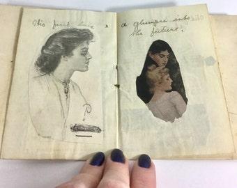Vintage Antique Scrap Book, Handmade Edwardian Booklet - Black White Photos, Notes, Autographs, Paper, Plaid Ribbon - Christmas Wishes Hopes