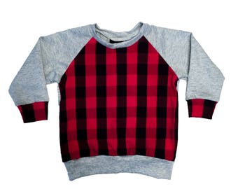 Grey & Red Buffalo Plaid Raglan - Baby Sweatshirt, Toddler Sweatshirt, Baby T-shirt, Baby Shirt, Toddler Shirt, Toddler T-shirt