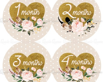 FREE GIFT, Gold Heart Monthly Stickers, Beige Polka Dot, Monthly Stickers, Shower Gift, Baby Girl Monthly Stickers