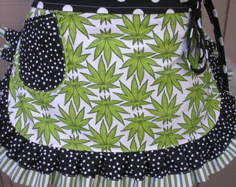 Womens Aprons - Weed Smoker Aprons - Canabis Fabric Aprons - Marijuana Apron - Pot Smokers Aprons - Annies Attic Aprons - Bong Smokers Apron