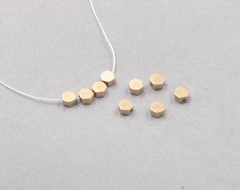 50Pcs, 5mm Raw Brass Hexagon Beads , Hole Size 1mm , SJP-A389