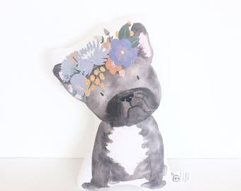 French Bulldog, Frenchie, Pillow, Dog Cushion, Puppy Plush, Dog Pillow, Boho, Nursery Pillow, Baby Gift, Girl Gift, Puppy Pillow, Finn, Gift