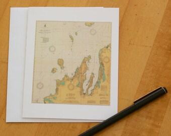 "Lake Michigan - Manitou & Fox Islands Map Note Cards (1927) 4.25""x5.5"""