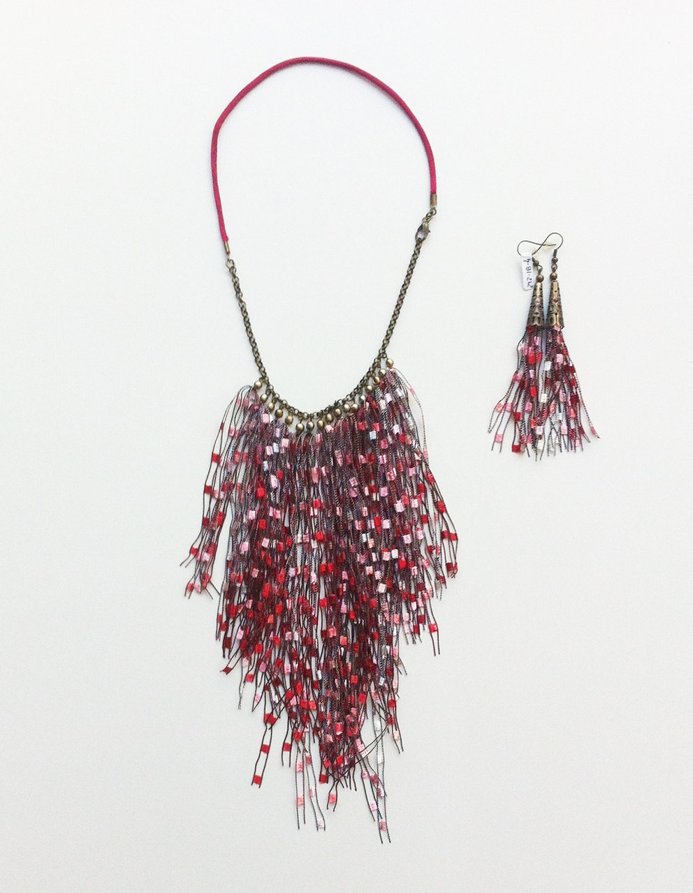 Tassel bib necklace - Tribal necklace- fabric tassel necklace ...