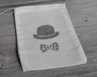 Set of 10 Hand stamped Bowler Derby Hat & Bow Tie Muslin Party Favor Bags 100% organic made in america