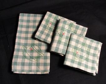Vintage hand made green gingham napkins/4