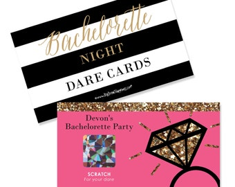 Bachelorette Party Games - Girl's Night Out - Personalized Bachelorette Party Scratch Off Dare Cards - Bridal Shower Game Cards - Set of 22