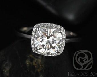 Rosados Box Bertha 7.5mm 14kt White Gold Cushion F1- Moissanite and Diamond Halo Engagement Ring