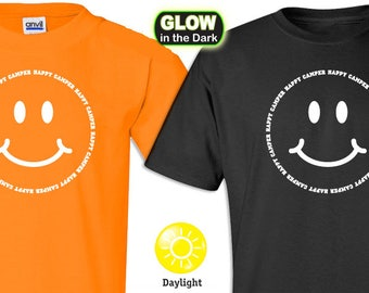 Happy Camper Smiley Face Glow in the Dark T-shirts (limited)
