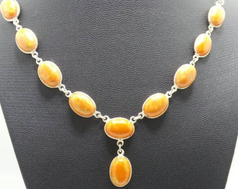 Handmade Orange Turquoise Sterling Silver chain linked necklace.