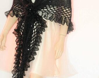 Black Wedding Shawl, Bridal Shawl, Bridal Wedding Stole, Black Shawl, Hand Knit Shawl, Black Capelet, Wed