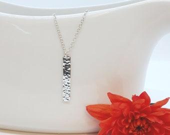 Hammered sterling silver bar necklace