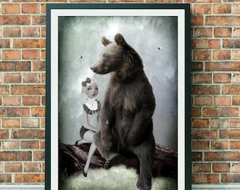 Goldilocks Art Print | Goldilocks & Bear | Fairytale Art | Bear Art | A3 Art Print | Goldilocks