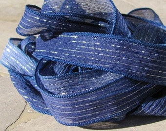 Blue Fizz Silk Ribbons, Qty 5, Silk Wrap Ribbons, H0and Dyed Sewn Silk Ribbons Strings Blue Jean With Silver Stripes