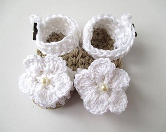 Baby dress shoes, baby espadrilles, white espadrilles, crochet baby sandals, baby girl photoprop, girls shoes, newborn sandals, cotton yarn