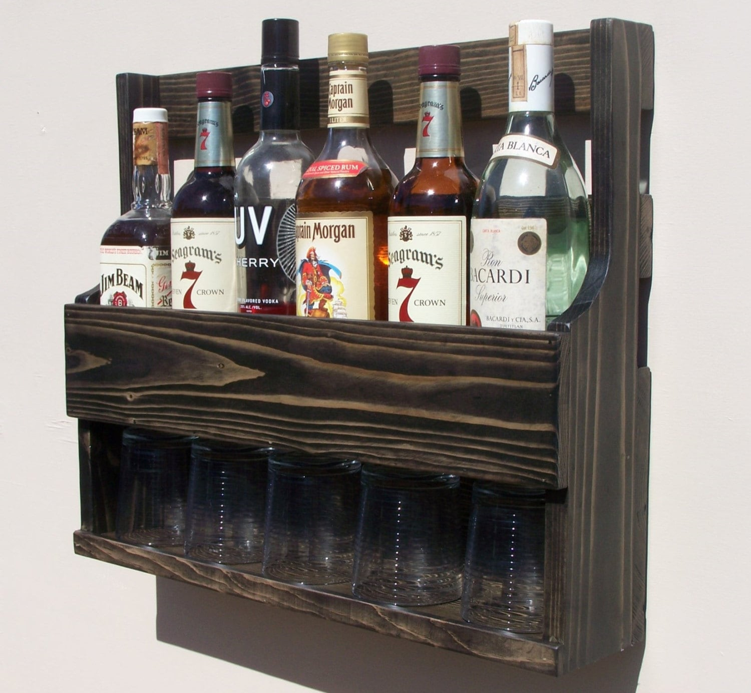 115 Bottle Wall Mount Liquor Rack With Shelf Which Holds Up To 15