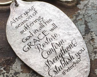God will Restore Religious Keychain, Gift of Encouragement, Scripture Keychain, Gift for Bereaved, 1 Peter 5:10 Religious Gift