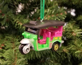 Miniature Thailand Tuk Tuk Christmas Ornament Free Shipping Happy Holidays L@@k