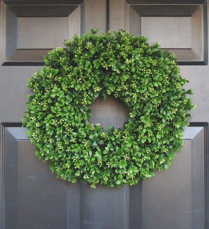 Artificial boxwood wreath 16 inch front door wreaths wedding zoom rubansaba