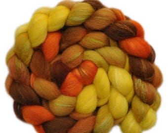 Hand painted combed top roving - Silk / Shetland wool 30/70% spinning fiber - 3.9 ounces - Hot Fields 1