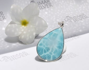 Perfect AAA Larimar pendant by Larimarandsilver, Mermaid Orchid - turquoise Larimar drop, crystal blue pear, fine Larimar jewelry 925 silver