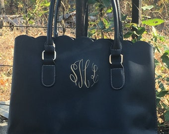 Monogrammed - Scalloped Tote - Purse - OOPS ITEM/ Second