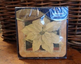 Pimpernel Coasters White Poinsettia Christmas Winter Art for the Table Dining Serving England Original Package Gift