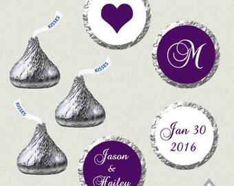 Printable Hershey Kiss Labels, Wedding Kiss Stickers, Eggplant Purple Wedding, Monogram Kisses, Wedding Kiss Favor, Hershey Kiss Stickers