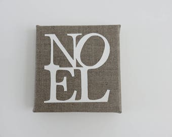 """NOEL"" painting on natural linen paper. 12 x 12 cm. Paper cut"